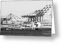 Ship Container Cranes Blk Wht Greeting Card
