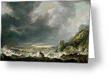 Ship In Distress Off A Rocky Coast Greeting Card