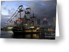 Ship In The Bay Greeting Card