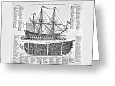 Ship Of War Plans Greeting Card