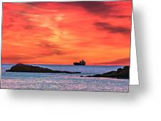 Ship Under Blood Red Skies Greeting Card