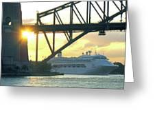 Ship Under Sydney Harbour Bridge Greeting Card