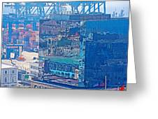 Shipping Containers And Building Windows Reflecting Graffiti  Art Of Valparaiso-chile Greeting Card