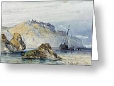 Shipping Off The Coast Of Granville Greeting Card