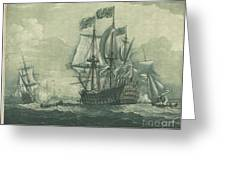 Shipping Scene With Man-of-war Greeting Card