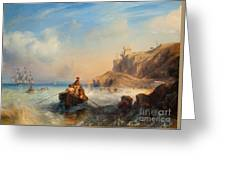 Ships By The Coast Greeting Card