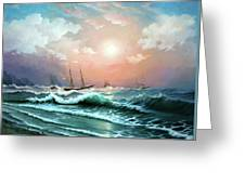 Ships In A Storm At Sunset Greeting Card