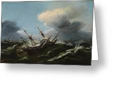 Ships In A Storm Greeting Card