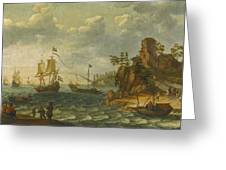 Ships Moored Off A Rocky Coastline With Fishermen Unloading Their Catch Greeting Card