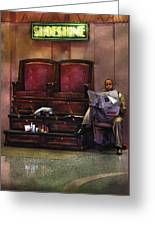 Shoes - Lee's Shoe Shine Stand Greeting Card by Mike Savad
