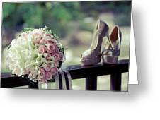 Shoes And Wedding Bouquet Greeting Card