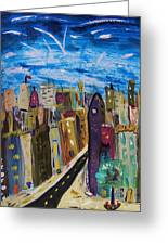 Shooting Stars Over Old City Greeting Card