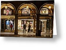 Shop Windows At Night On Piazza San Marco - Venice Greeting Card