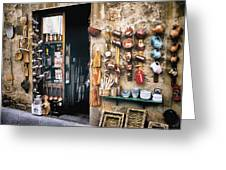 Shopping In Tuscany Greeting Card