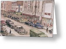 Shopping On Elm St. 1949 Greeting Card