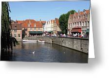 Shops Along The Canal Greeting Card