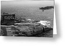 Shoreline And Shipwreck - Portland, Maine Bw Greeting Card