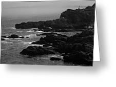Shoreline - Portland, Maine Bw Greeting Card