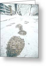 Show Footprints In Snow On Sidewalk Along The Park Greeting Card