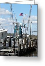 Shrimp Boat Greeting Card by Kim Zwick
