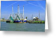 Shrimp Boats Seabrook  Greeting Card by Fred Jinkins