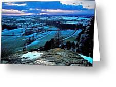 Shropshire Winter Sunset Scene Greeting Card