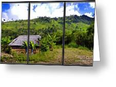 Shuar Hut In The Amazon Greeting Card