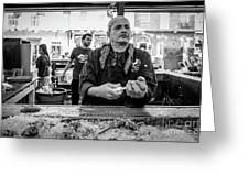 Shucking Oysters 2 - French Quarter- Bw Greeting Card