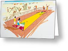 Retro Shuffleboard Art From The 1960's Greeting Card