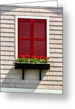 Shutter And Flowers Greeting Card