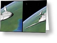 Shuttle X-2010 - Gently Cross Your Eyes And Focus On The Middle Image Greeting Card