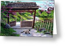 Siamese Cat At Hakone Side Gate Greeting Card