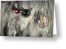 Siamese Cat In Black And White Greeting Card