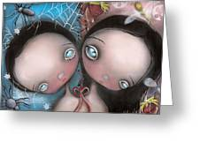 Siamese Twins Greeting Card by  Abril Andrade Griffith