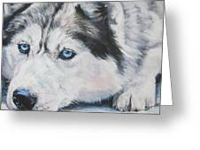 Siberian Husky Up Close Greeting Card