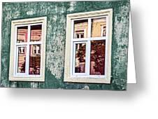 Sibiu Window Reflections - Romania Greeting Card