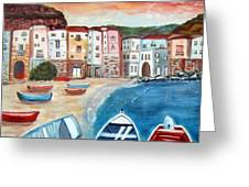 Sicilian Fishing Village Greeting Card