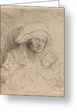 Sick Woman With A Large White Headdress (saskia) Greeting Card
