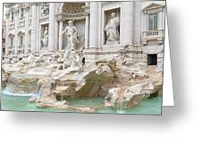 Side View Of The Trevi Fountain In Rome Greeting Card