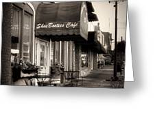 Sidewalk At Shoebooties Cafe In Black And White Greeting Card