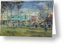 Sidewalk Cafe Venice Ca Panorama  Greeting Card