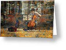 Sidewalk Cellist Greeting Card