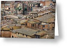 Siena Colored Roofs And Walls In Aerial View Greeting Card