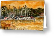 Sienna Sky Boat Marina Nautical Art Greeting Card