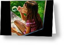 Sierra Blowing Bubbles Greeting Card