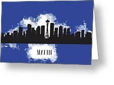 Seattle Skyline Silhouette Greeting Card