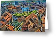 Sighisoara From Above Greeting Card