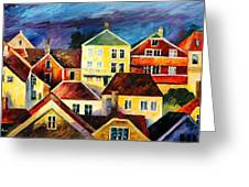 Sight From Above - Palette Knife Oil Painting On Canvas By Leonid Afremov Greeting Card