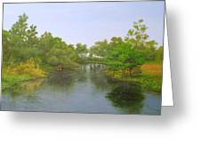 Signed Fluss By Samuel Matheis Acrylic River Holzminde, Holzminden, Germany. Greeting Card