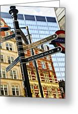 Signpost In London Greeting Card by Elena Elisseeva